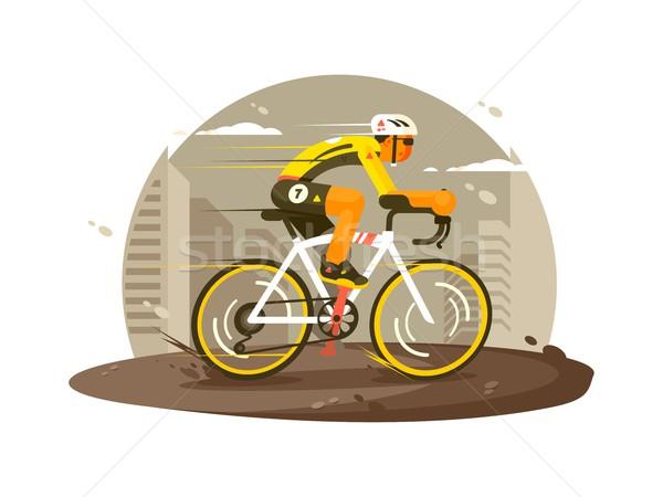 Sport atléta kerékpáros hamar bicikli vektor Stock fotó © jossdiim