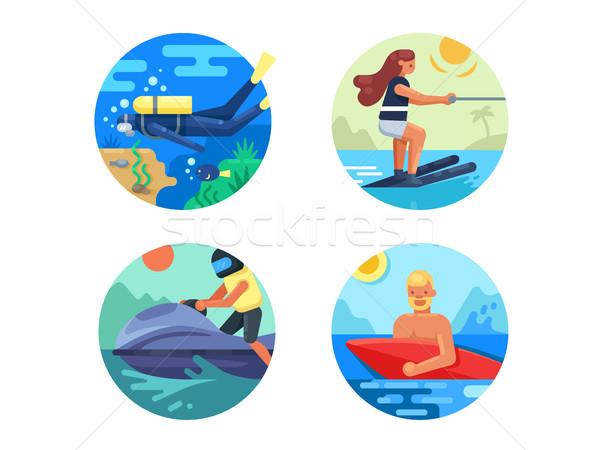 Water sport icon set Stock photo © jossdiim