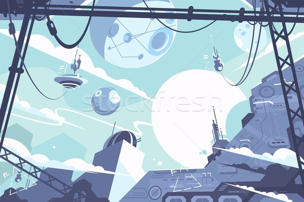 Space colony with rockets and stations Stock photo © jossdiim