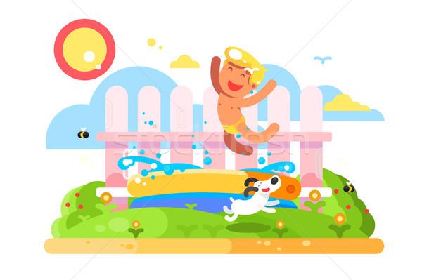 Child boy play in garden pool Stock photo © jossdiim