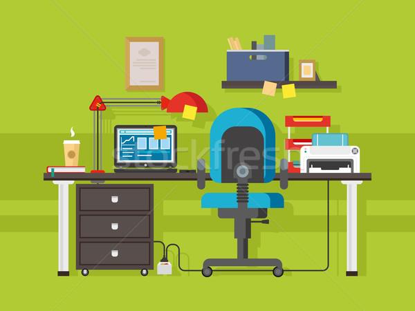 Oficina lugar de trabajo interior creativa café impresora Foto stock © jossdiim