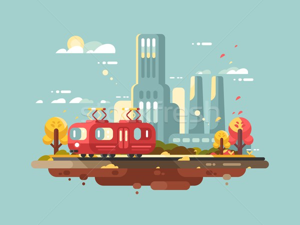 Retro tram design flat Stock photo © jossdiim