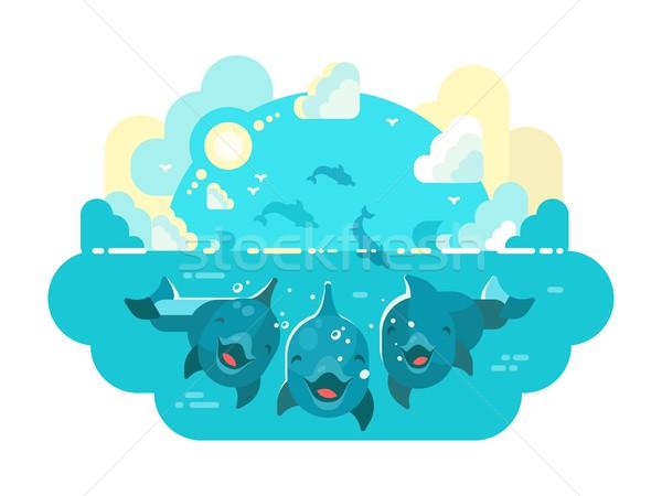 Mutlu yunuslar yüzmek atlamak deniz okyanus Stok fotoğraf © jossdiim