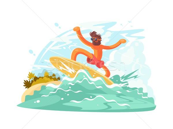 Szörfös fickó nagy óceán hullám férfi tenger Stock fotó © jossdiim