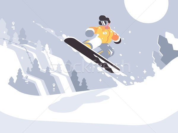 Snowboarder guy snowboarding Stock photo © jossdiim