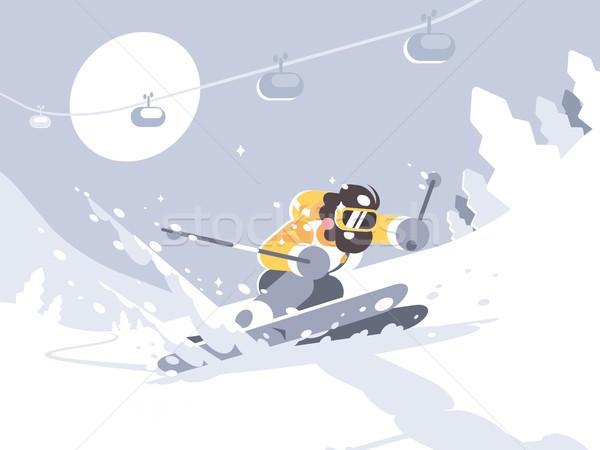 лыжник лыжах лыжных курорта зима деятельность Сток-фото © jossdiim