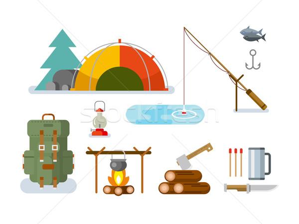 Halászat vadászat terv vektor ikon gyűjtemény fa Stock fotó © jossdiim