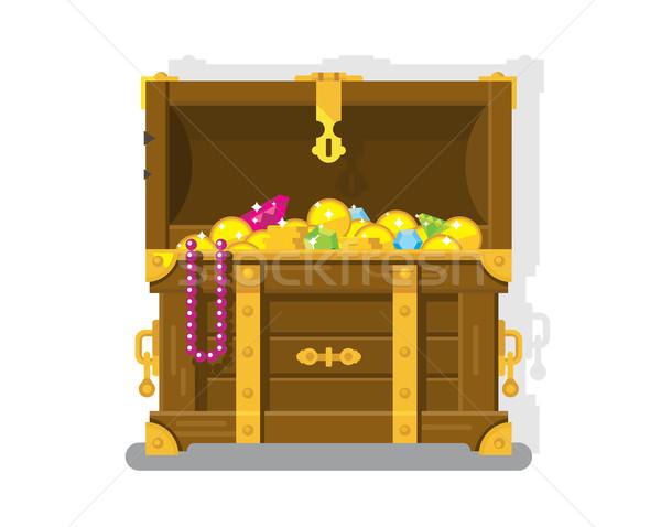 Kincsesláda arany érmék mellkas doboz pénz vagyon Stock fotó © jossdiim