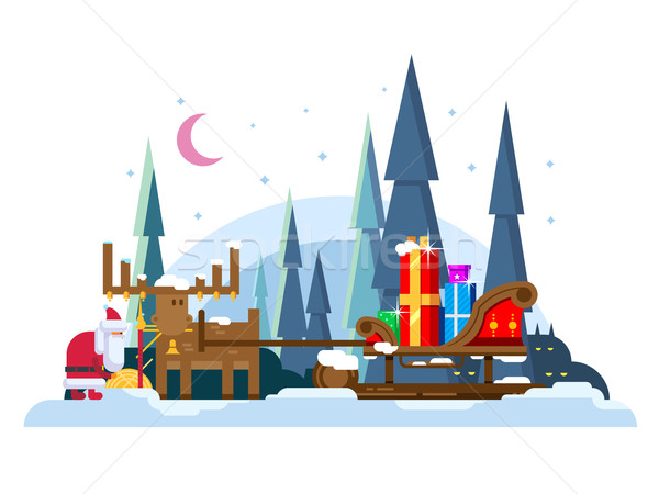 Christmas sleigh full of gifts Stock photo © jossdiim