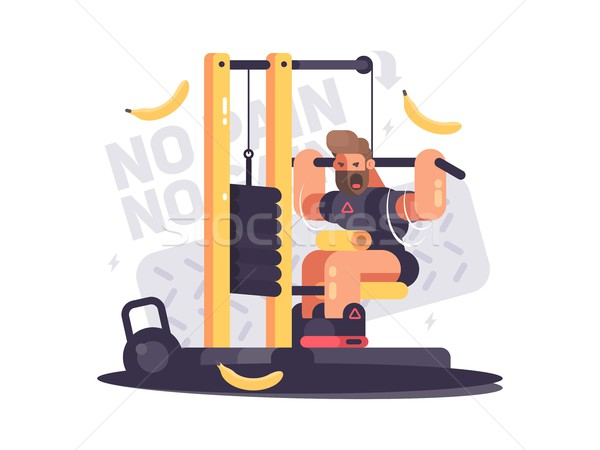 Athlete trains on sport apparatus Stock photo © jossdiim
