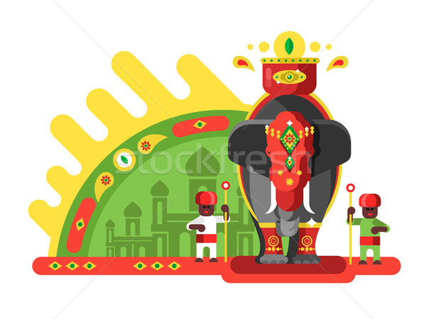 伝統的に 装飾された インド 象 動物 文化 ストックフォト © jossdiim