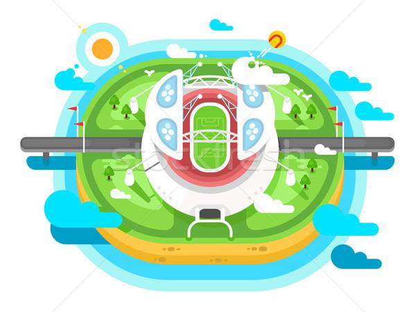 Stock fotó: Stadion · aréna · épület · terv · sport · futball