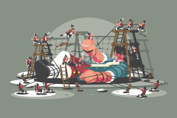 Gulliver lies bound by ropes Stock photo © jossdiim