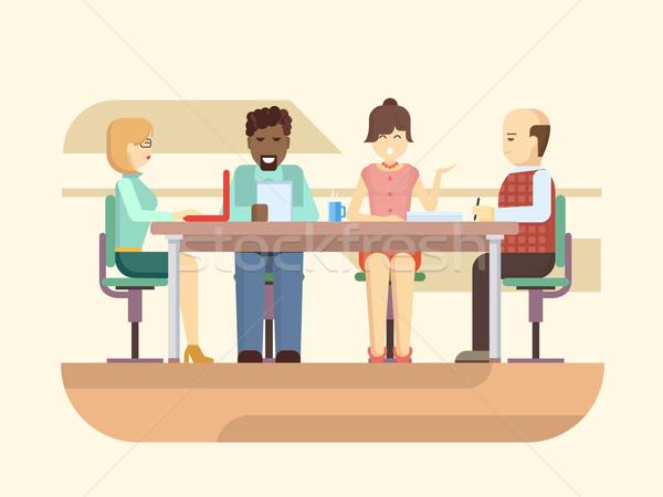 Iş brifing toplantı kurumsal ofis işleri takım Stok fotoğraf © jossdiim
