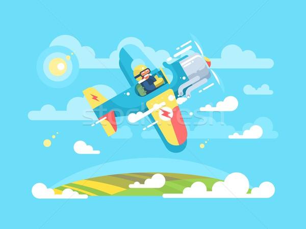 Piloot vliegen vliegtuig vliegtuigen reizen cartoon Stockfoto © jossdiim
