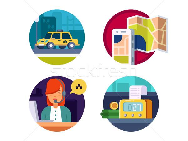 Foto stock: Servicio · taxi · llamando · operador · pago