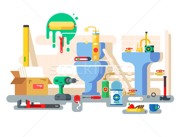 Repair of bathroom toilet bowl and washbasin Stock photo © jossdiim