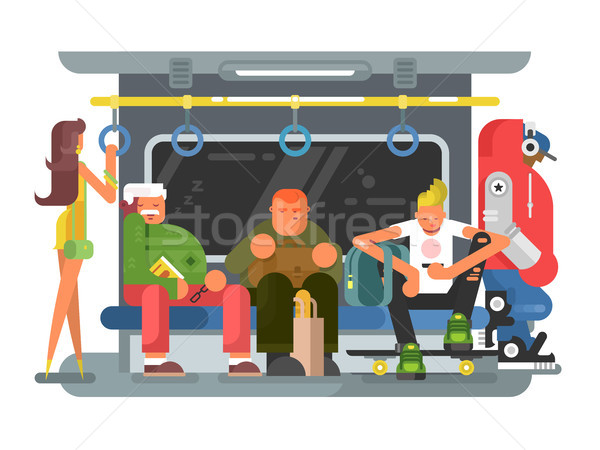Subway with people man and woman flat design Stock photo © jossdiim