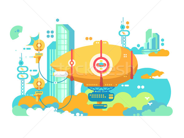Airship hovering in city design flat Stock photo © jossdiim