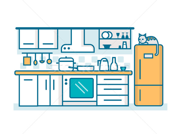 Kitchen linear flat Stock photo © jossdiim