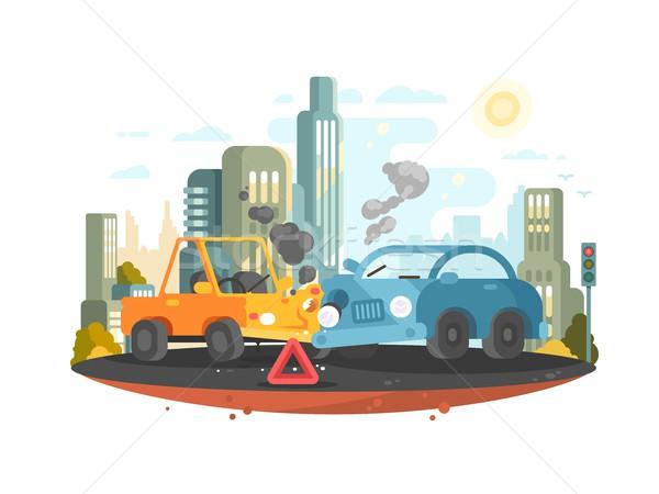 Strada traffico incidente due auto strada Foto d'archivio © jossdiim