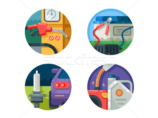 Filling machine set icons Stock photo © jossdiim