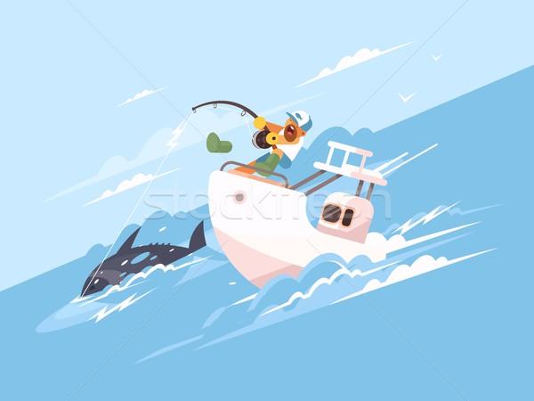 Pescador atum iate marinha pescaria vetor Foto stock © jossdiim