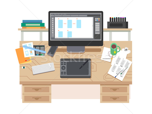 Ui приложение дизайна workspace комнату столе Сток-фото © jossdiim