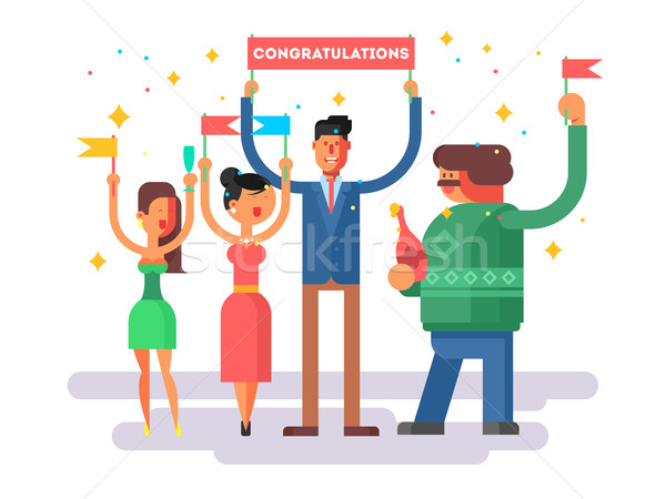 Congratulations group people Stock photo © jossdiim