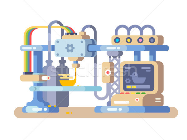Impressão dispositivo projeto 3D tecnologia fabrico Foto stock © jossdiim