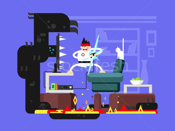 Gamer cartoon character Stock photo © jossdiim