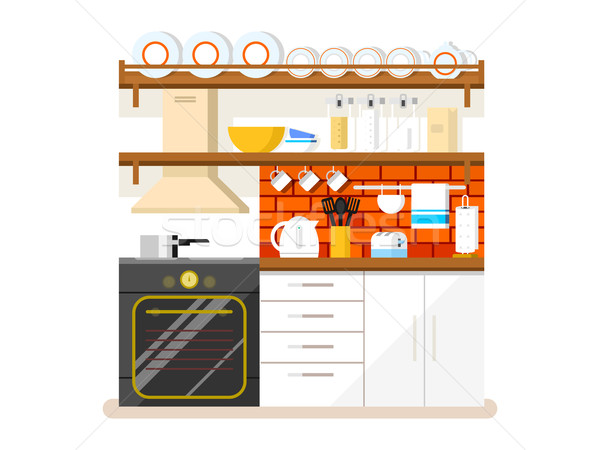 кухне стиль мебель холодильнике тостер пластина Сток-фото © jossdiim