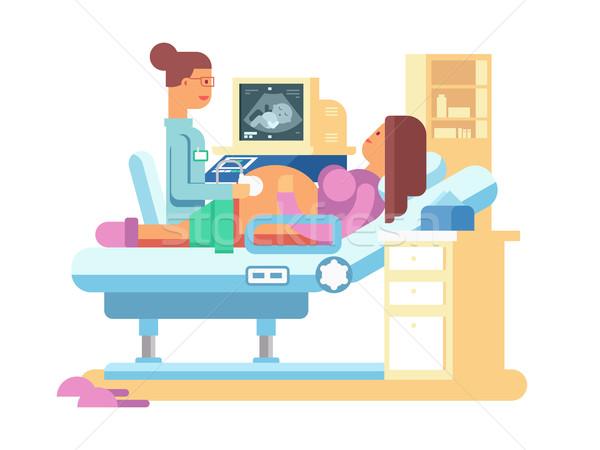 Ultrasuoni donna incinta scansione ospedale pancia sani Foto d'archivio © jossdiim