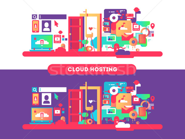 Cloud hosting ontwerp web technologie internet Stockfoto © jossdiim