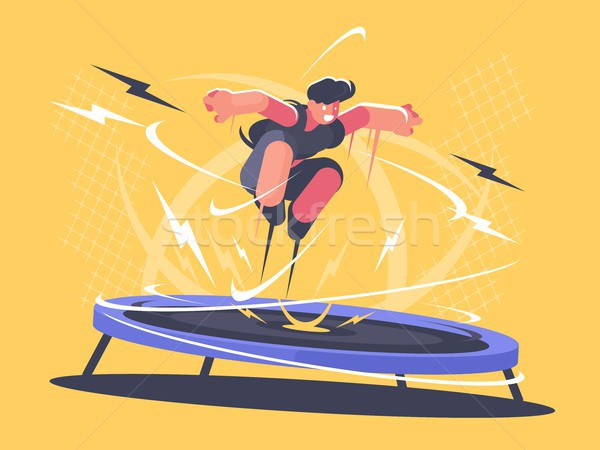 Athlete jumping on trampoline Stock photo © jossdiim