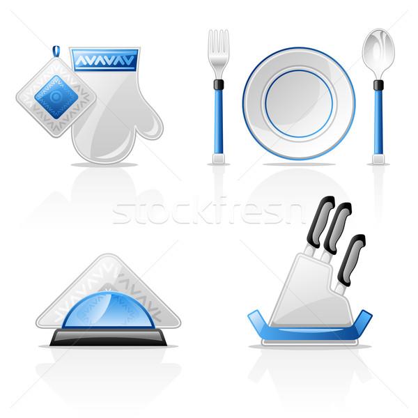 Cocina azul placa patrón apoyo cuchara Foto stock © jossdiim