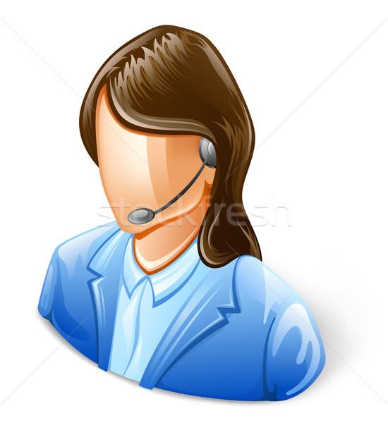 Atendimento ao cliente representante branco mulher telefone ajudar Foto stock © jossdiim