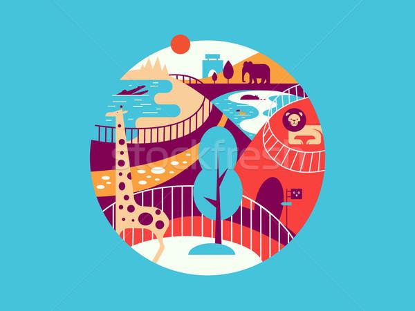 Zoológico ilustración jirafa elefante parque Foto stock © jossdiim