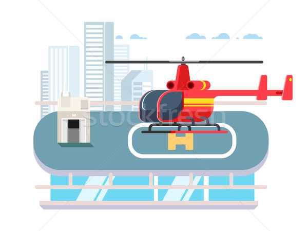 Helicopter on roof Stock photo © jossdiim