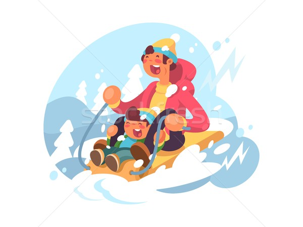 Dad and son sledding Stock photo © jossdiim