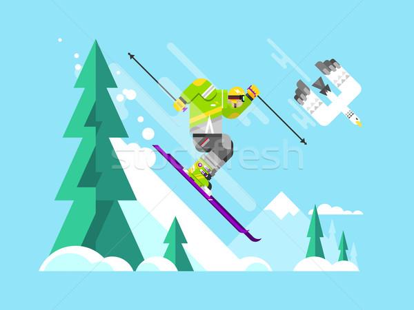 Síelő karakter rajzfilmfigura sport tél hó Stock fotó © jossdiim