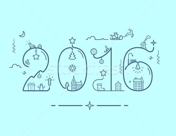 Inscription of New Year 2016 with decoration Stock photo © jossdiim