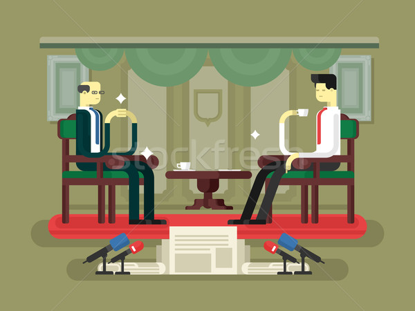 Politician interview flat design Stock photo © jossdiim