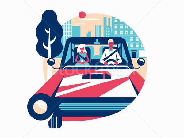 şofer conducere maşină control vehicul vector Imagine de stoc © jossdiim