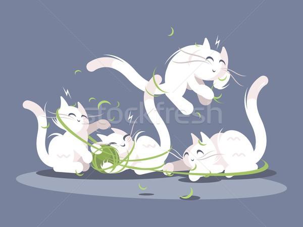 Kittens play with ball of threads Stock photo © jossdiim