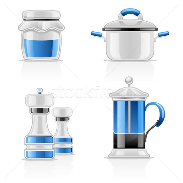 Stock fotó: Konyha · üveg · kék · csoport · tea · modern