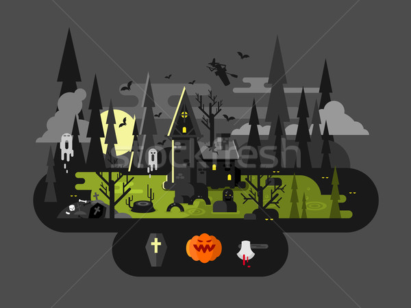 Halloween house at night Stock photo © jossdiim