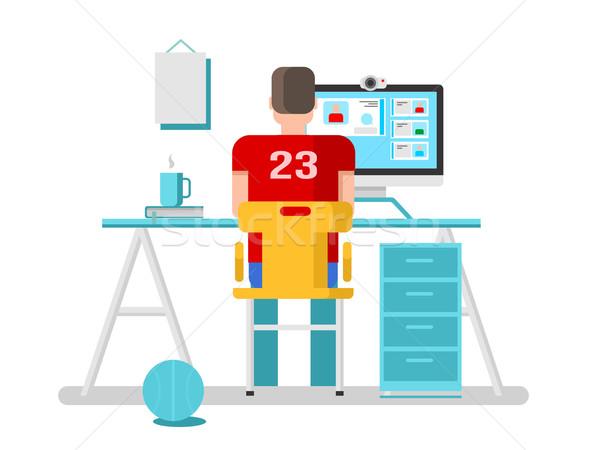 Fickó online számítógép videó chat internet Stock fotó © jossdiim