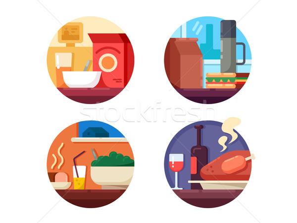 Set of food icons to dinner Stock photo © jossdiim