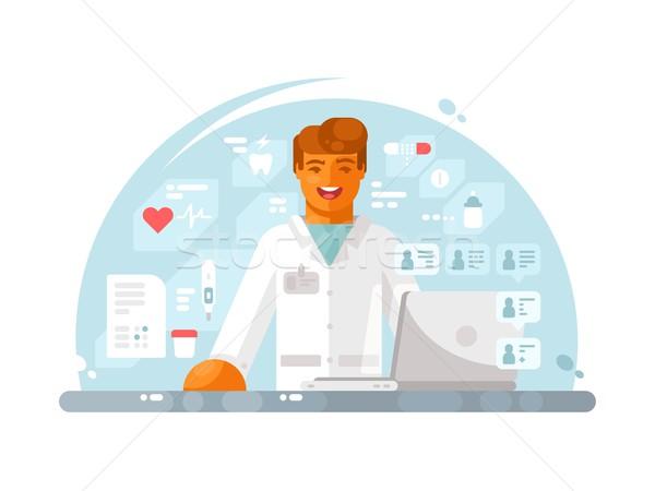 Online orvos konzultáció fiatal orvosi háziorvos Stock fotó © jossdiim